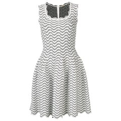 Azzedine Alaia White and Black Flared Short Dress