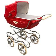 Baby Cars Midcentury Red Steel and Plastic Italian Baby Pram Stroller, 1950s