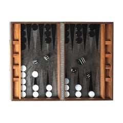 Backgammon Roarshax Wood Case with Glass Chips and Dice