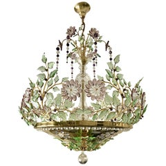 Baguès Style Chandelier with Scrolling Leaf Branches and Amethyst Glass Flowers