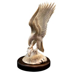 Bald Eagle with Fish Moose Antler Carving