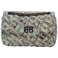 Balenciaga BB Round Medium Dollar Print Leather Chain Shoulder Bag
