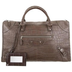 Balenciaga NEW Crocodile Exotic Men's Weekender Travel Top Handle Tote Bag