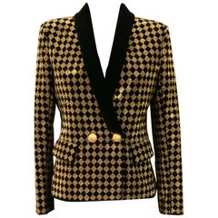 Balmain Black and Gold Tone Double-Breasted Blazer