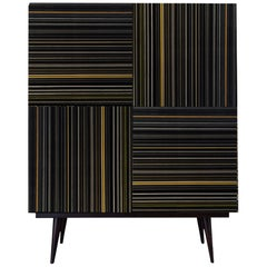 Bar Black and Yellow Details Multi-Color Barcode  Glass Doors by Orfeo Quagliata