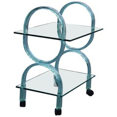 Bar Cart Italian Design Curved Solid Glass Green Fiam, 1980s
