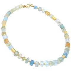 Barbara Heinrich Aquamarine Beryl Crystals Gold Tube Necklace