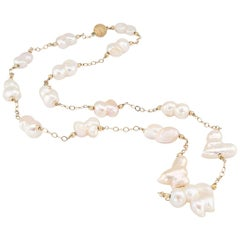 Baroque Cultured Freshwater Pearl Gold Long Necklace
