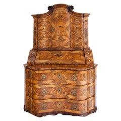 Baroque Walnut Veneered Tabernacle Secretaire, German, 18th Century