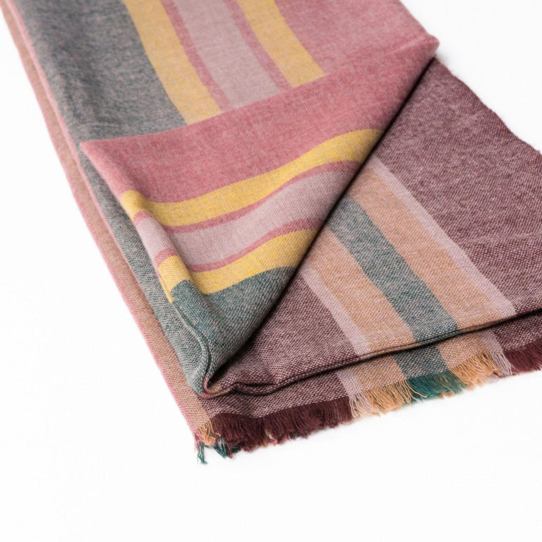 Hand-Woven BARQUE Light Weight Merino Throw   For Sale
