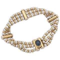 Bassani 1990s Pearl with Cabochon Sapphire Gold Rondelles Pearl Bracelet