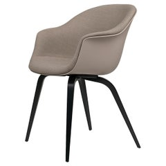 Bat Dining Chair, Front Upholstered, Wood Base, Black Stained Beech