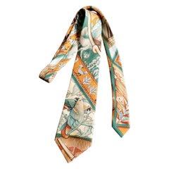 Beautiful Hermes Silk Tie, Colourful Birds Parrots in the Jungle , Hermes Orange