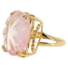 Beautifully Carved Rose Quartz Gold Ring