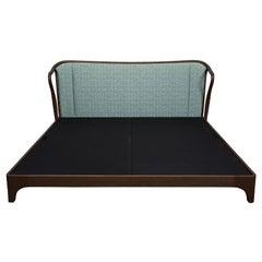 Bed Frame California King Mid Century Rhythm André Fu Living Oak Upholstered New