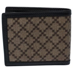 Beige/Black Diamante Canvas and Leather Bi Fold Wallet