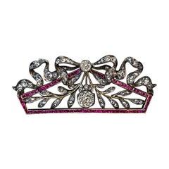 Belle Époque Antique Russian Diamond Ruby Brooch