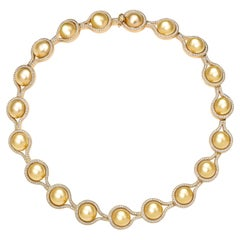 BELPEARL, Natural Color Golden South Sea Pearl Diamond Encrusted Collier