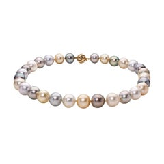 BELPEARL Sumptuous,Natural Color Tahitian & South Sea Multi-Color Pearl Necklace