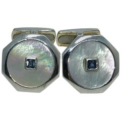 0.14 Natural Square Sapphire T-Bar Back White Gold Cufflinks