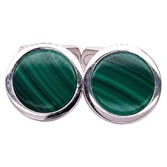 Berca Natural Malachite Round Shaped Sterling Silver Cufflinks