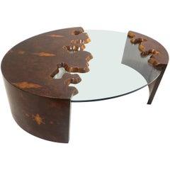 Bespoke 1980 Italian Organic Walnut Veneer & Glass Oval Coffee Table with Drawer