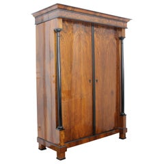 Biedermeier Armoire, Walnut Veneer and Full Columns, Austria circa 1820