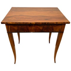 Biedermeier Side Table with Drawer, Walnut Veneer, South Germany, circa 1820