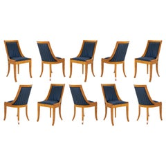 Biedermeier Style Dining Chairs in Royal Blue and Burlwood, Set of 10