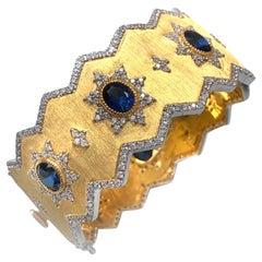 Bijoux Num Sterling Silver Lab-sapphire Vermeil Wide Cuff Bracelet
