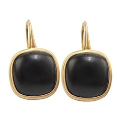 Black Agate 18 Karat Yellow Gold Earrings