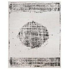 Black and White Abstract Rug, Handmade in Hemp