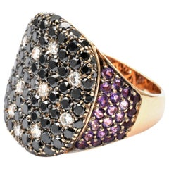 Black Diamonds and Amethyst Rose Gold Ring Made in Italy