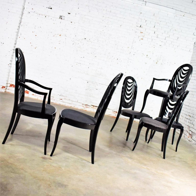 Black Lacquer Oval Drape Back Dining Chairs, Pietro Costantini for Ello Set of 6 For Sale 3
