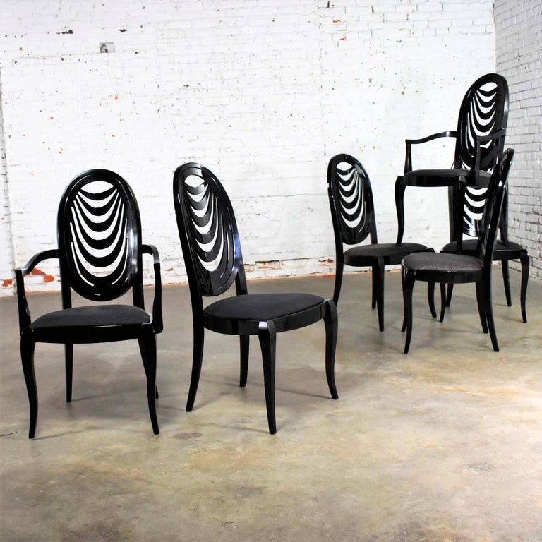Black Lacquer Oval Drape Back Dining Chairs, Pietro Costantini for Ello Set of 6 For Sale 4