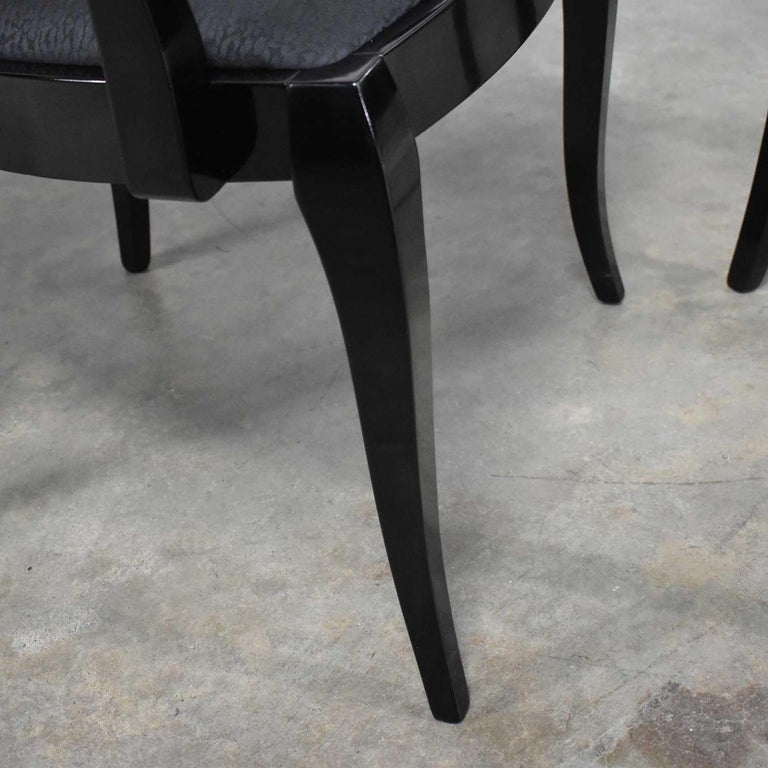 Black Lacquer Oval Drape Back Dining Chairs, Pietro Costantini for Ello Set of 6 For Sale 6