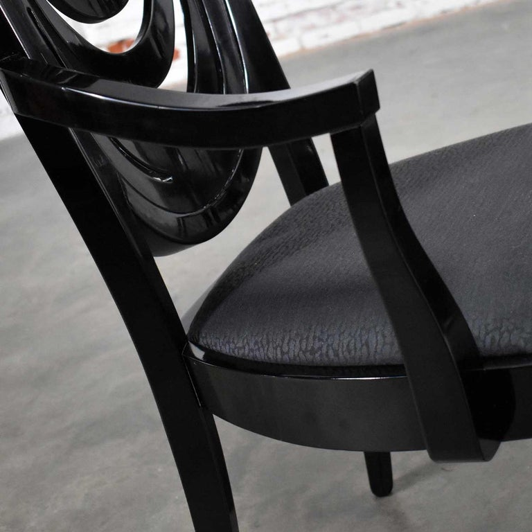 Black Lacquer Oval Drape Back Dining Chairs, Pietro Costantini for Ello Set of 6 For Sale 7