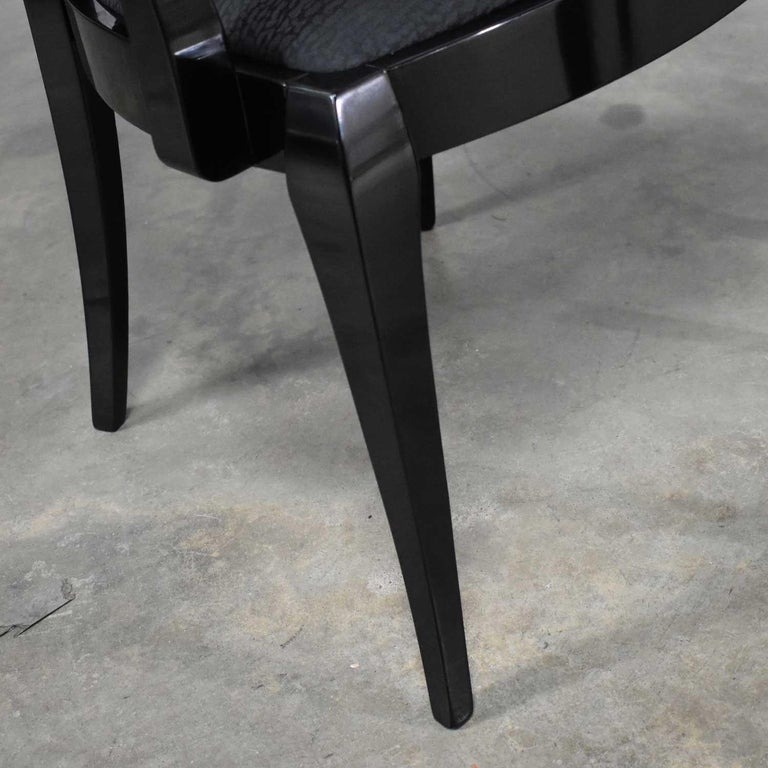 Black Lacquer Oval Drape Back Dining Chairs, Pietro Costantini for Ello Set of 6 For Sale 8
