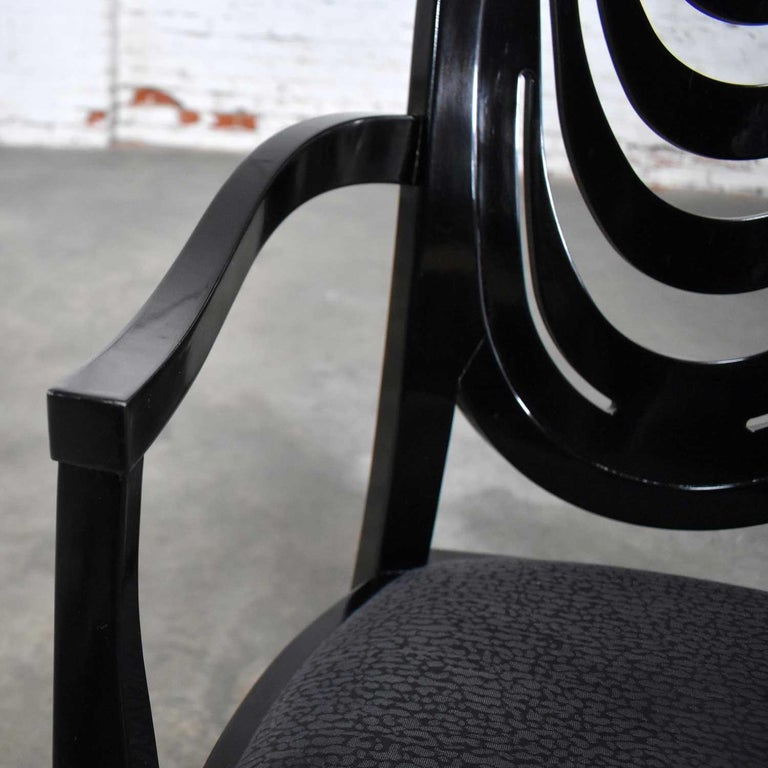 Black Lacquer Oval Drape Back Dining Chairs, Pietro Costantini for Ello Set of 6 For Sale 9