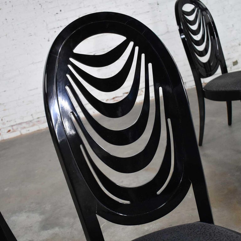 Black Lacquer Oval Drape Back Dining Chairs, Pietro Costantini for Ello Set of 6 For Sale 11