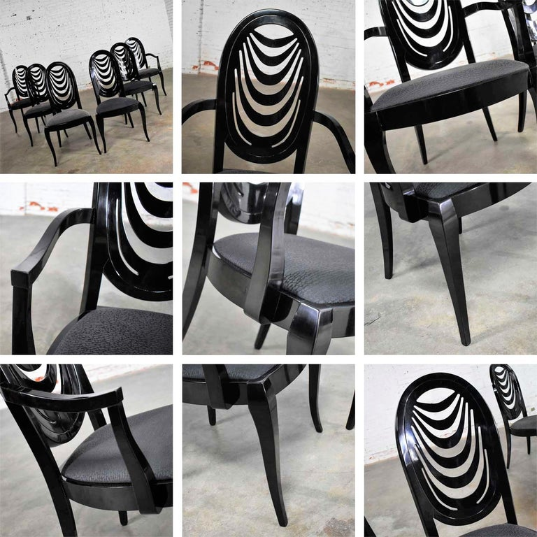 Black Lacquer Oval Drape Back Dining Chairs, Pietro Costantini for Ello Set of 6 For Sale 13
