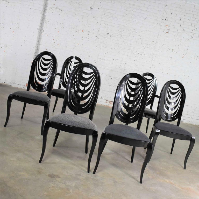 Hollywood Regency Black Lacquer Oval Drape Back Dining Chairs, Pietro Costantini for Ello Set of 6 For Sale