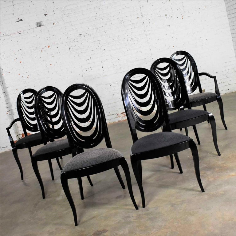 Italian Black Lacquer Oval Drape Back Dining Chairs, Pietro Costantini for Ello Set of 6 For Sale