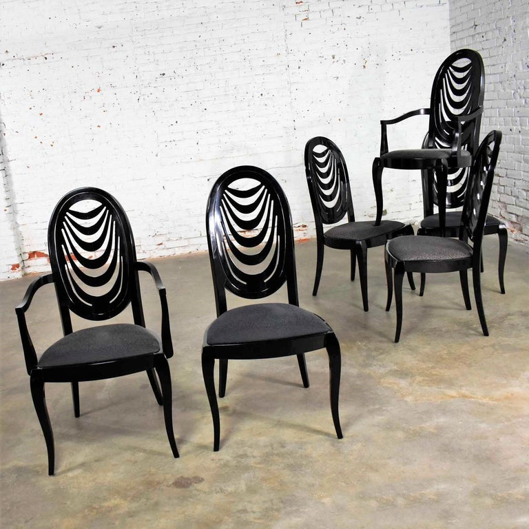 Black Lacquer Oval Drape Back Dining Chairs, Pietro Costantini for Ello Set of 6 In Good Condition For Sale In Topeka, KS