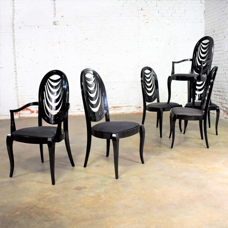 Wood Black Lacquer Oval Drape Back Dining Chairs, Pietro Costantini for Ello Set of 6 For Sale