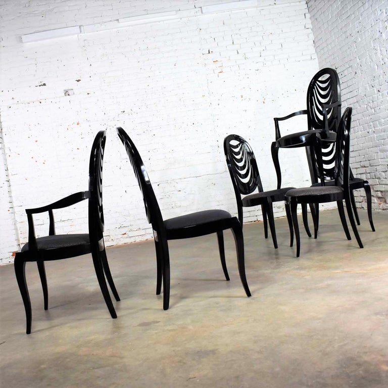Black Lacquer Oval Drape Back Dining Chairs, Pietro Costantini for Ello Set of 6 For Sale 1
