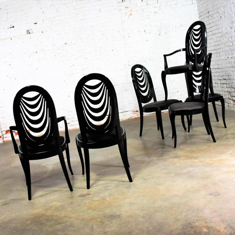 Black Lacquer Oval Drape Back Dining Chairs, Pietro Costantini for Ello Set of 6 For Sale 2
