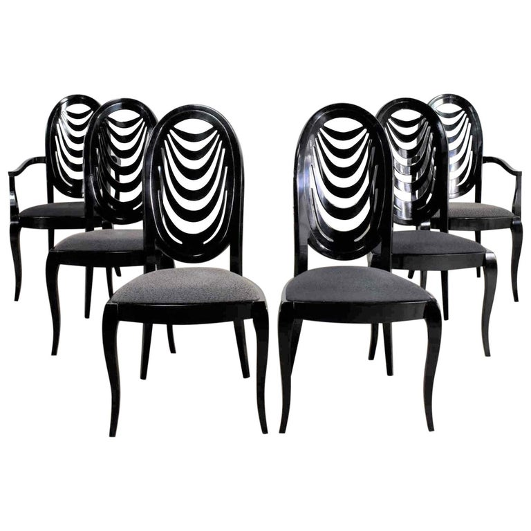Black Lacquer Oval Drape Back Dining Chairs, Pietro Costantini for Ello Set of 6 For Sale