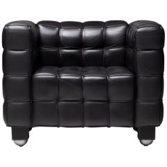 Black Leather Kubus Club Chair by Josef Hoffmann