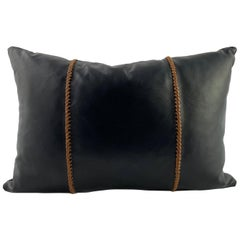 Black Leather Pillow with Tan Leather Cross Stitch, Lumbar Cushion